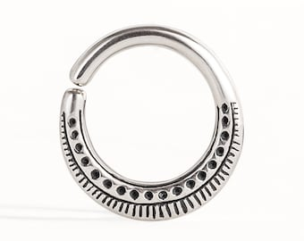 Septum Ring Nose Ring Body Jewelry Sterling Silver Bohemian Fashion Indian Style 14g 16g  Gift for Her - SE023SSO