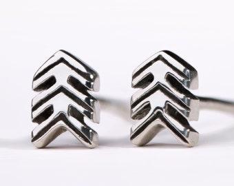 Triangle Arrows Stud Earrings Sterling Silver Earrings Chevron Bohemian Modern Jewelry  Gift for Her - CST005