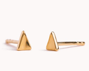 Triangle Earrings Silver & Gold Stud Earrings Minimalist Geometric Earrings Dainty Tiny Stud Earrings Modern Jewelry - CST017