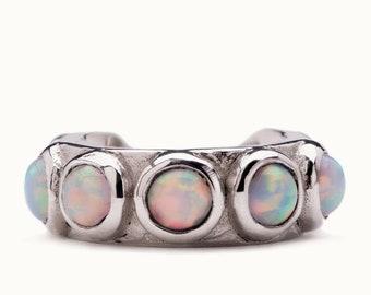 Sterling Silver Ear Cuff Earring Blue Opal Stones Inlay Ear Wrap Earrings Modern Jewelry  Gift for Her - ECU009 OP36