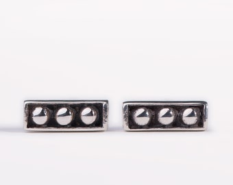 Silver Stud Earrings Sterling Silver Square Earrings Bohemian Jewelry  Gift for Her - CST003SS