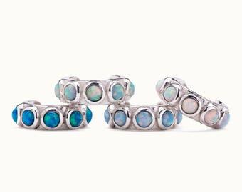 Sterling Silver Ear Cuff Earring Light Blue Opal Stones Inlay Ear Wrap Earrings Modern Jewelry  Gift for Her - ECU009