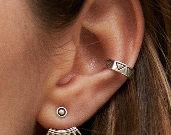 Sterling Silver Ear Cuff Earring Minimal Triangle  Ear Wrap Earrings Boho Jewelry  Gift for Her - ECU003