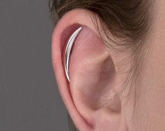 Cartilage Earring Crescent Moon Helix Earring Sterling Silver Minimalist Stud Piercing Dainty Modern Jewelry Ear Cuff Earrings - CRT001