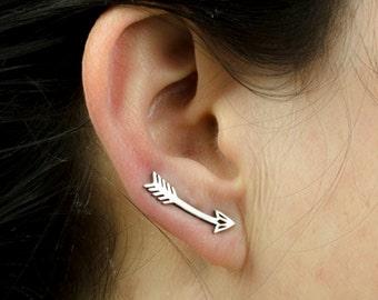 Arrow Earrings Sterling Silver Ear Cuff American Native Ear Sweep Pin Earrings Boho Jewelry  Gift for Her - FES019