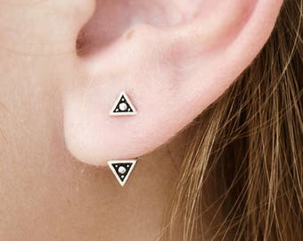 Sterling Silver Triangle Ear Jacket Earrings Ear Cuff Earrings Boho Jewelry - JKT007SSO