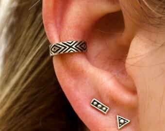 Boho Ear Cuff Earring Sterling Silver Aztec Evil Eye Chevron Ear Wrap Earrings Boho Jewelry  Gift for Her - ECU006