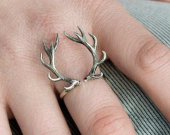 Deer Antler Ring Sterling Silver Ring Statement Ring Adjustable Ring Boho Jewelry Jewelry Gift for Her - FRI001