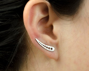 Sterling Silver Ear Cuff Moon Phase Ear climber Pin Earrings Modern Jewelry  Gift for Her - FES014