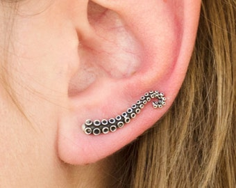 Octopus Ear Cuff Earrings Sterling Silver Ear Climbers Earrings Boho Jewelry Ear Crawler - FES001