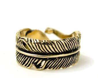 Feather Ring Adjustable Feather Wrap Ring Boho Jewelry - FRI002