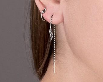 Threader Earrings Feather Earrings Long Chain Earrings Sterling Silver Boho Earrings Dangle Drop Boho Jewelry - CHN008