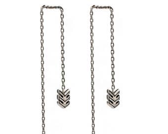 Threader Earrings Arrow Sterling Silver Chain Earrings Dangle Minimalist Jewelry - CHN003