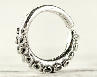 Octopus Tentacle Septum Ring Nose Ring Body Jewelry Sterling Silver Bohemian Fashion Indian Style 14g 16g 18g - SE035R