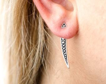 Sterling Silver Ear Jacket Earrings Sunshine Ear Cuff Earrings Modern Jewelry  Gift for Her - JKT004SSO
