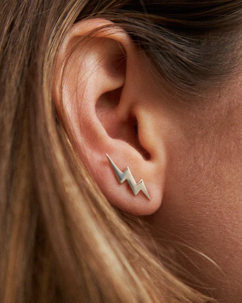 Bolt Earring Ear Climber 925 Sterling Silver Ear Cuff image 1