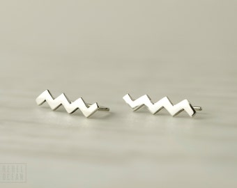 Sterling Silver Ear Cuff Chevron Ear wrap Pin Earrings Boho Jewelry  Gift for Her - FES017