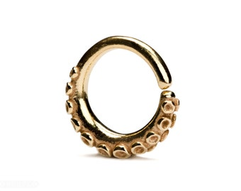 Octopus Tentacle Septum Ring Gold Nose Ring Body Piercing Septum Jewelry Solid Sterling Silver Boho Indian Style 14g 16g 18g - SE035
