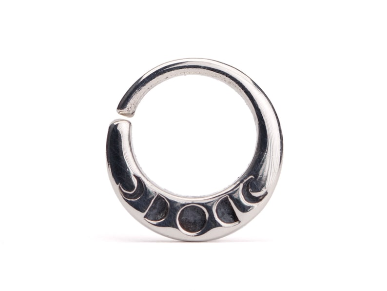 Moon Phase Septum Ring Nose Ring Body Jewelry Sterling Silver image 0