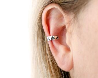 Sterling Silver Ear Cuff Earring Black Triangle Ear Wrap Earrings Boho Jewelry  Gift for Her - ECU004