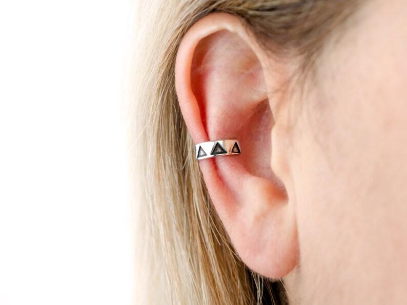 Sterling Silver Ear Cuff Earring Black Triangle Ear Wrap image 0