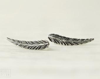 Sterling Silver Ear Cuff Feather Ear Climber Pin Earrings Boho Jewelry - FES018