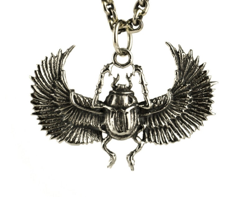 Egypt Scarab Necklace Antique Silver Color Bronze Pendant with image 0
