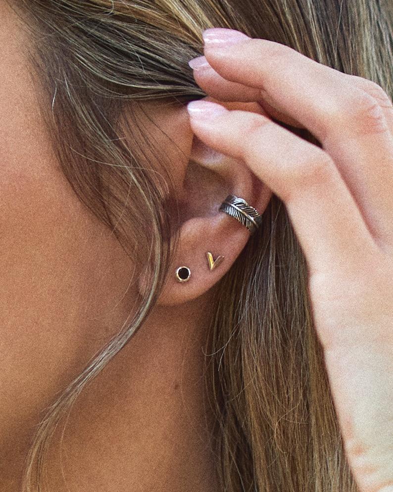 Feather Ear Cuff Earring Sterling Silver Ear Wrap Earrings image 0