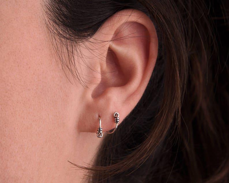 Tiny Hoop Earrings Silver Small Huggie Earrings Sterling image 0