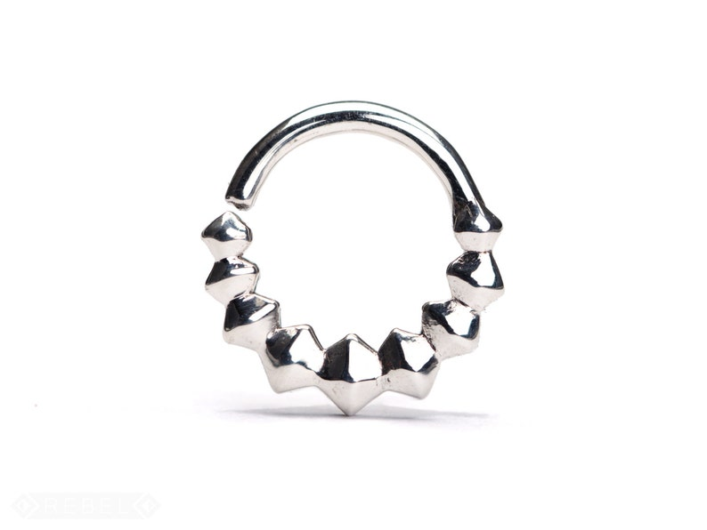 Geometric Septum Ring Nose Ring Body Jewelry Sterling Silver image 0