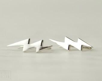 Sterling Silver Ear Cuff Lightning Bolt Ear Sweep Pin Earrings Boho Jewelry - FES009