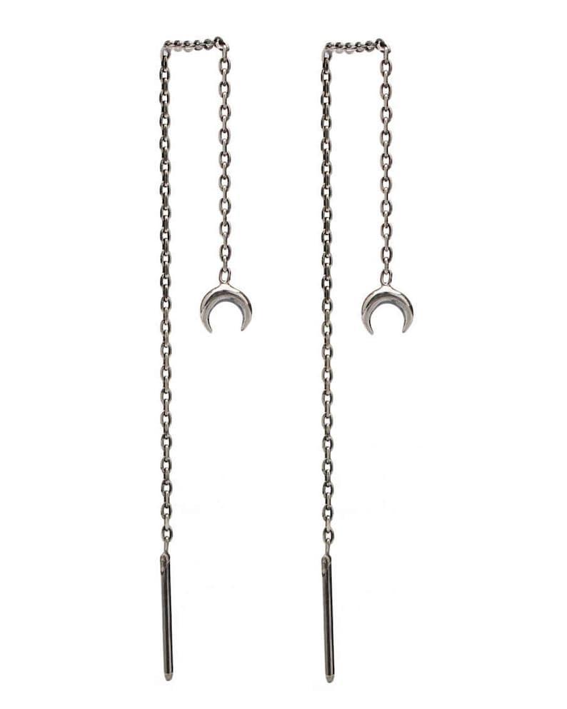 Threader Earrings Crescent Moon Phase Earrings Sterling Silver image 0