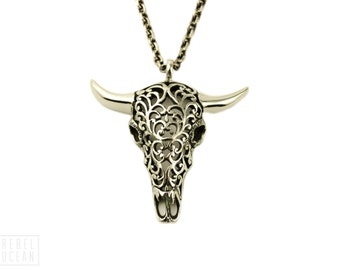 Buffalo Skull Necklace Jewelry Skull Charm Pendant with Chain Gothic Boho Statement Necklace Gift for Her - FPE008