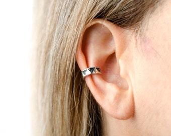 Sterling Silver Ear Cuff Earring Aztec Triangle Dots Piramyds Ear Wrap Earrings Boho Jewelry  Gift for Her - ECU002