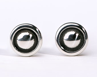 Round Dot Sterling Silver Stud Earrings Moon Eclipse Modern Minimalist Jewelry  - CST004SS