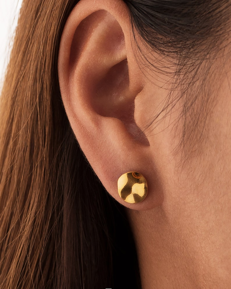 Gold Stud Earrings Circle Earrings Silver Disk Minimalist image 0