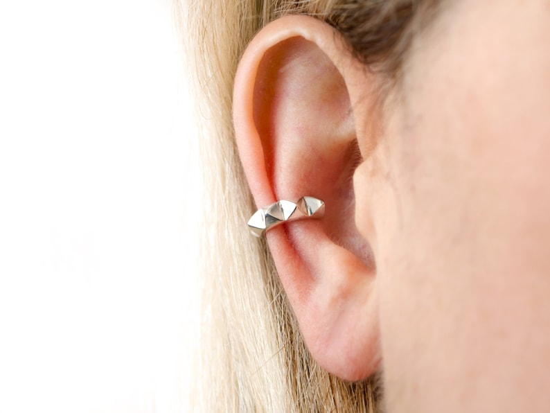 Sterling Silver Pyramid Ear Cuff Earring Ear Wrap Earrings image 0