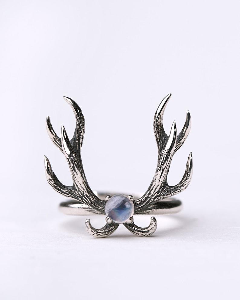 Deer Antler Ring Moonstone and Sterling Silver Adjustable Ring image 0