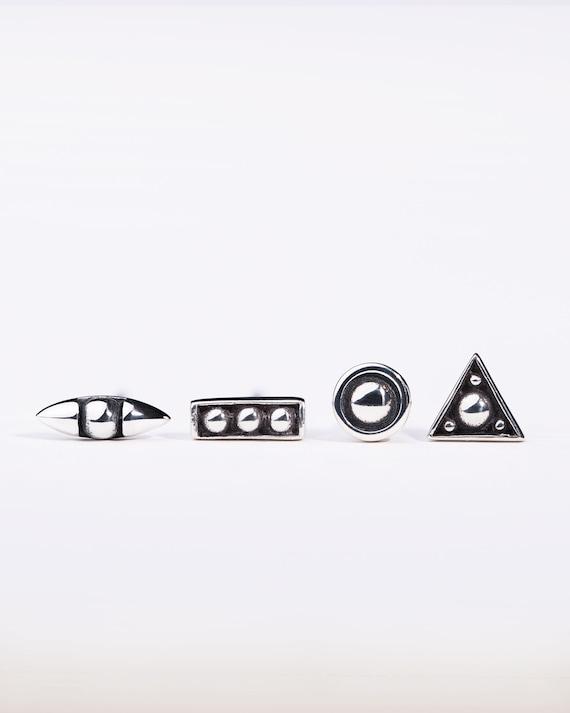 6da2c6c567b Stud Set Earrings Silver Asymmetrical Earrings Tiny Minimalist