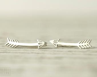 Arrow Earrings Sterling Silver Ear Climber American Native Ear Crawler Earrings Boho Ear Cuff 925 Silver Jewelry Gift Bohemian 14K - FES019