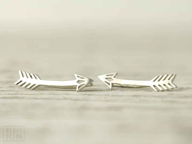Arrow Earrings Sterling Silver Ear Climber American Native Ear image 0
