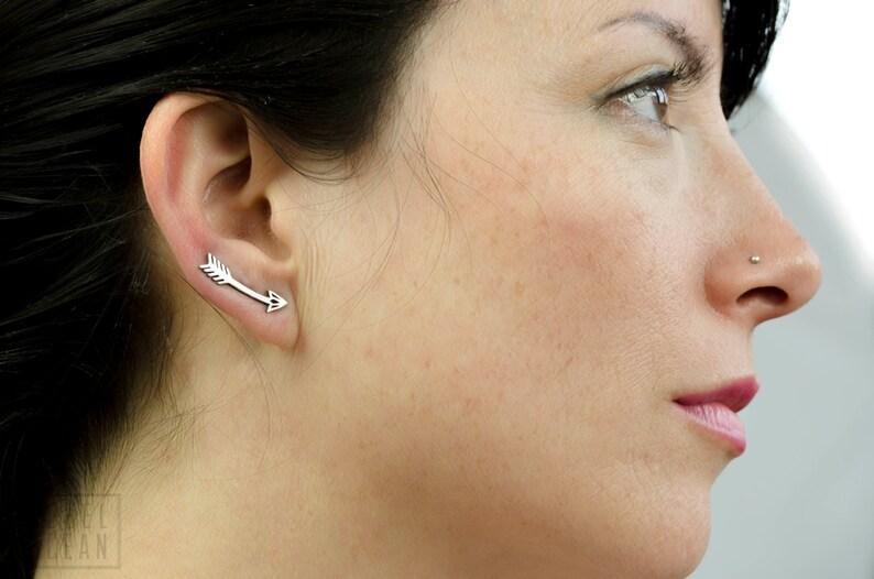 Arrow Earrings Sterling Silver Ear Cuff American Native Ear image 0