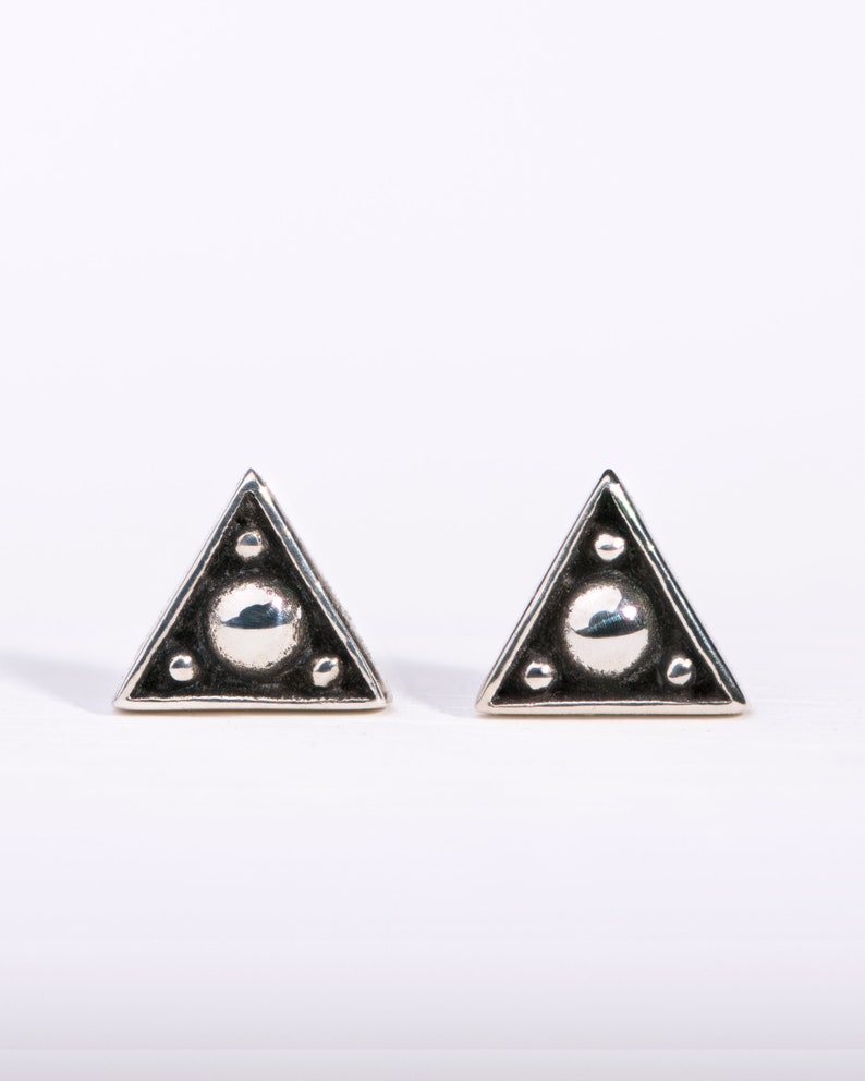 Tiny Triangle Sterling Silver Stud Earrings Edgy Modern image 0