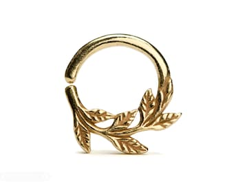 Leaves Septum Ring Nose Ring Body Jewelry Yellow Gold Plated Silver Bohemian Fashion Indian Style 14g 16g 18g - SE036
