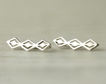 Aztec Style Sterling Silver Ear Cuff Ear Sweep Pin Earrings Boho Jewelry  Gift for Her - FES016