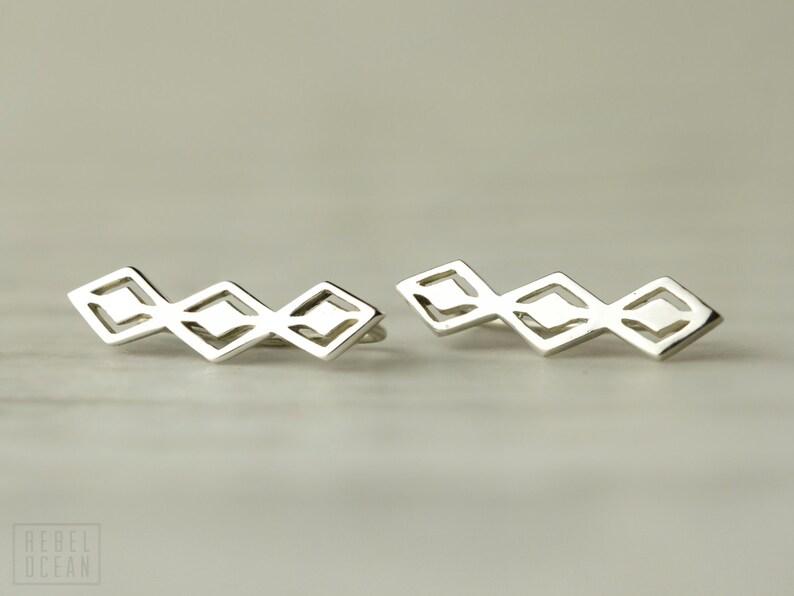 Aztec Style Sterling Silver Ear Cuff Ear Sweep Pin Earrings image 1