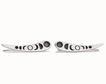 Moon Phase Silver Ear Cuff Celestial Earrings Ear Climber 925 Earrings Modern Jewelry Bohemian Crescent Moon Ear Crawler - FES030SSO