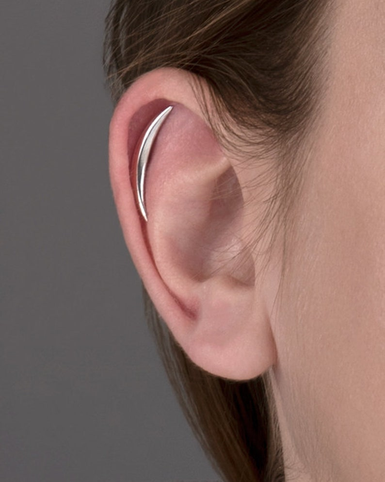 Cartilage Earring Crescent Moon Helix Earring Sterling Silver image 0