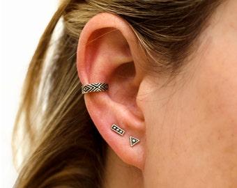 Silver Stud Earrings Sterling Silver Triangle Earrings Bohemian Jewelry - CST002SSO
