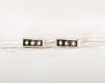 Silver Stud Earrings Sterling Silver Square Earrings Bohemian Jewelry - CST003SS